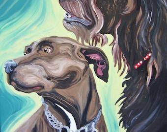 Two Pet Portrait Custom Acrylic on 8 x 10 Stretched Canvas Dog Cat Bird-Carla Smale