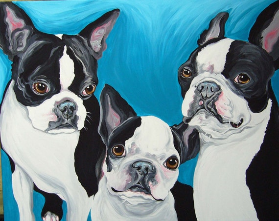 Custom Pet Portrait-16 x 20-Your Dogs or Cats Up to Three on Canvas Acrylic Painting Art-Carla Smale