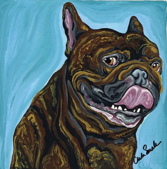 Black Brindle French Bulldog Original Dog Art Painting-Carla Smale-reserved for Bill