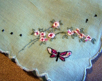 Vintage Lady's Hankies Butterfly, Pink Flowers White with blue Flowers Set of Two