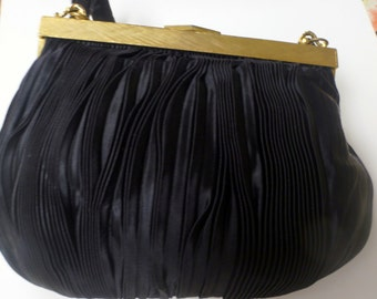 Vintage Handbag Black Pleated Satin