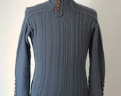 Organic Merino Wool Sweater with Wooden Buttons - Free Shipping