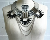 Battle Necklace - Grey Leather, Marbled Leather, Chain and Glass Spikes