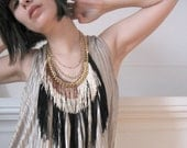 Fringe Necklace - Black, Champagne, Rust