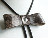 "Leather Bolo Tie - Brown and Taupe ""The Bow Lo"" -  Silver Ball Tip"