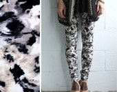 Brushed Jersey Leggings - Taupe, Black and White Abstract Floral - LAST PAIR - size M
