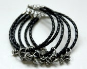 Friendship Bracelet - Five Strand - Woven Leather and metal spikes