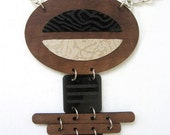 "Geometric Necklace - Wood, Leather and Etched Acrylic - The ""Mitra"" in Taupe and Black"