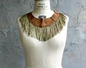 Fringe and Leather Collar - Southwestern printed Suede, Olive Green Fringe