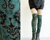 Faux Thigh High Leggings - Emerald Green Velvet with Gold - LAST PAIR size L