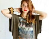 Zig Zag Tee - Rayon Slinky knit with Zig Zag sheer Chiffon  - Size S