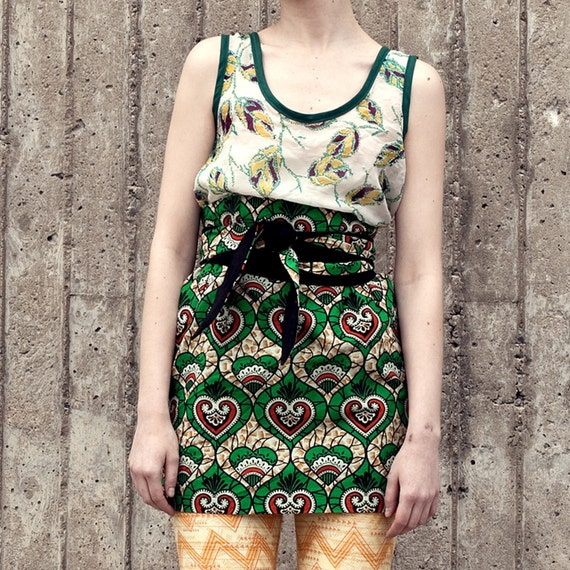 High Waist Skirt with Wrap Belt  - GREEN - LAST ONE - size S