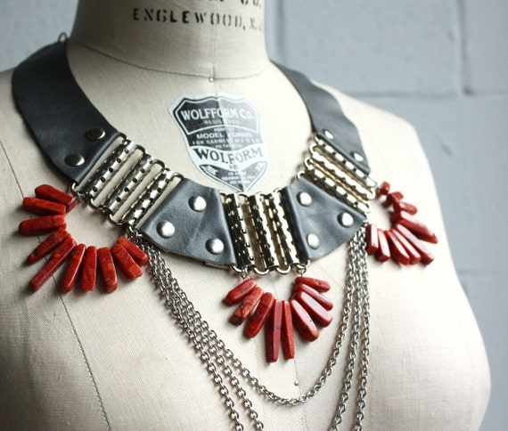Battle Necklace - Grey Leather and Coral