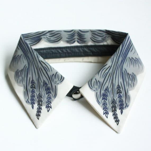 "LAST ONE - Detachable Silk Shirt Collar - ""Wheat"" -  Jen Storey Collaboration"