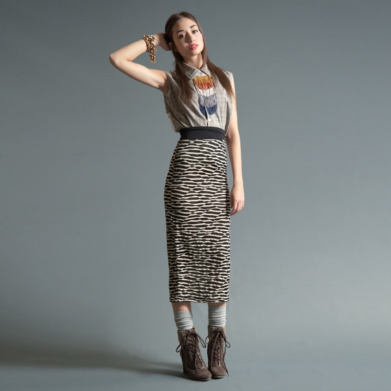 Column Skirt - Calf Length - Cream and Black Shattered Stripe - LAST ONE, Size S