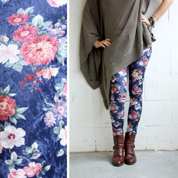 Stretch Velvet Leggings - Navy Burgunday and Pink Roses - Floral - LAST PAIR- size s