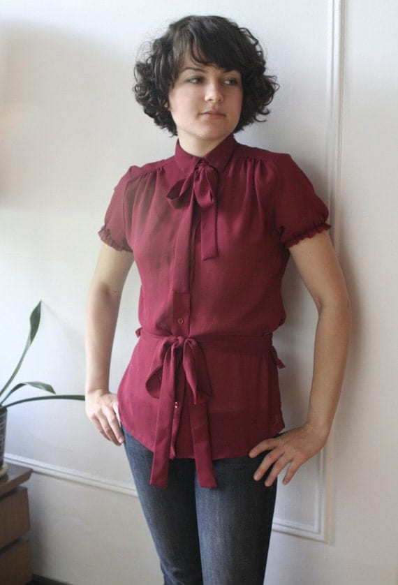 The Secretary Blouse - Reworked - Size S