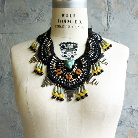 """Crochet and Chain Beaded Bib Necklace - The """"Place D'Armes"""""""