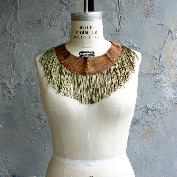 Fringe and Leather Collar - Southwestern printed Suede, Olive Green Fringe