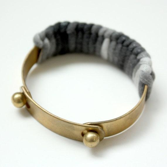 "Jersey Wrapped Brass Cuff Bracelet ""Grey Ombre"""