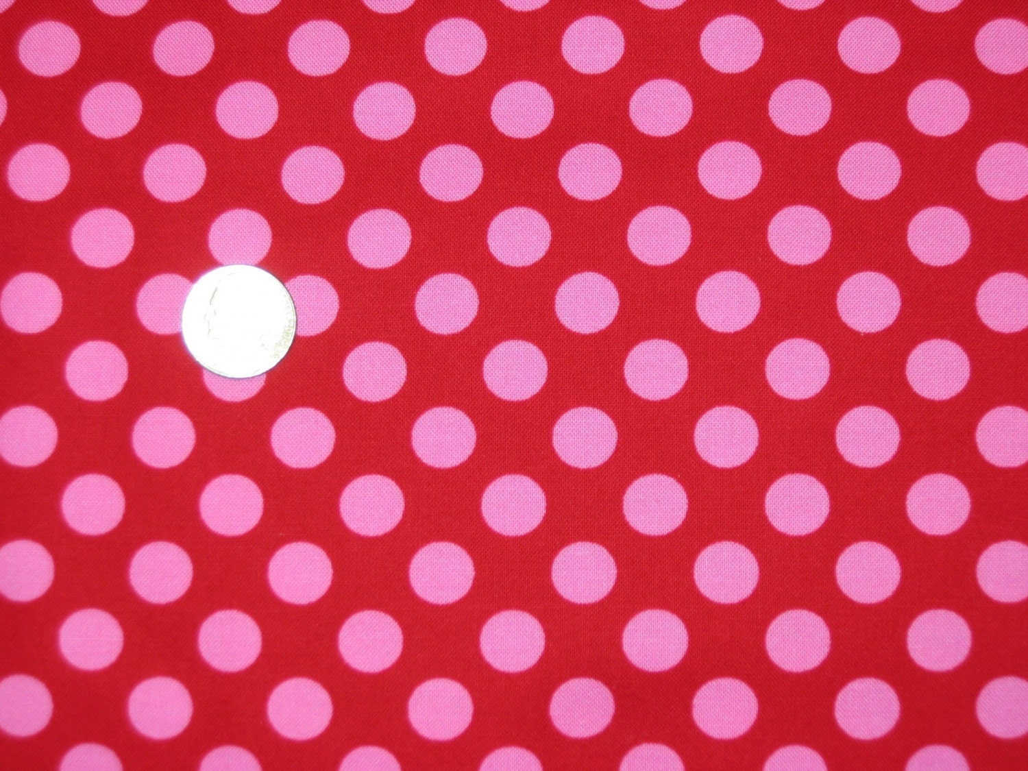 michael miller berry ta dot red with pink polka dot fabric 1. Black Bedroom Furniture Sets. Home Design Ideas