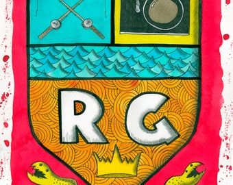 """9"""" X 12"""" Custom Family Crest Watercolour Painting"""