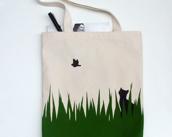 Cat and bird screen printed canvas tote bag