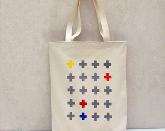 Tote bag canvas cotton with handprinted crosses