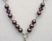 Purple Eggplant Swarovski Pearls & Crystals Rosary Style Necklace with St. Christopher or Guardian Angel Medal