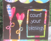 Count Your Blessings Mixed Media Collage (5 1/2 x 5 1/2 in)- MADE TO ORDER