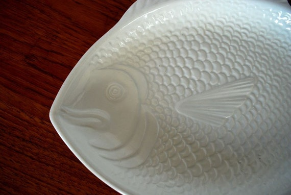 Whittier pottery white fish platter