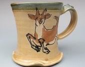 Happy Goat mug stoneware pottery