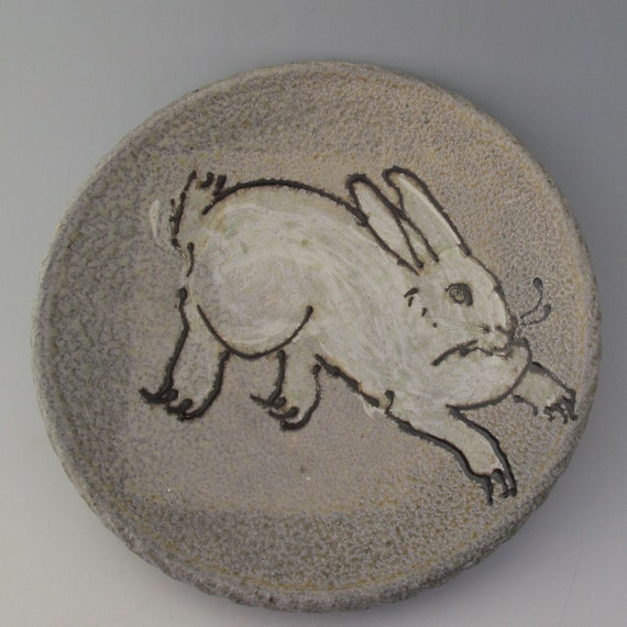 Plate with rabbit  wood fired salt glazed pottery