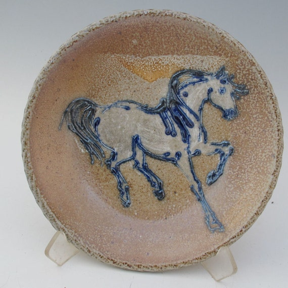 Plate with horse wood fired salt glazed stoneware pottery
