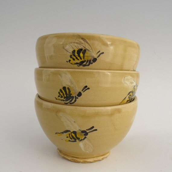 Bowls with Honeybees set of three stoneware pottery