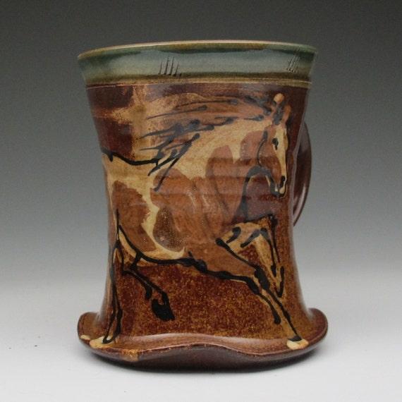 mug with paint horse stoneware pottery