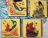 mermaid coasters retro vintage 1950's pin up girl rockabilly cocktails