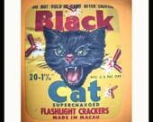 Black cat mouse pad retro vintage label 1950's rockabilly office decor kitsch