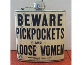 Beware pickpockets flask retro vintage new orleans rockabilly pin up