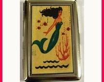 mermaid metal wallet retro vintage pin up cigarette ID business card case rockabilly