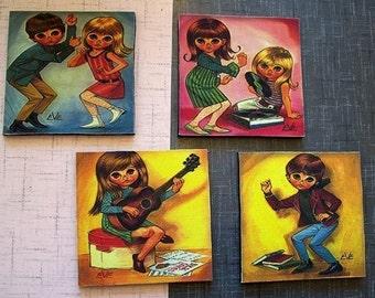 retro big eye print coasters vintage kitsch mod bar decor go go sad eye keane