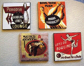 retro bowling coasters vintage 1950's bowling alley sign matchbook art rockabilly kitsch