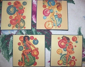 pin up girl coasters retro vintage 1950's rockabilly burlesque coaster set kitsch