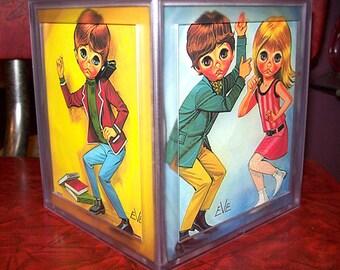 retro big eye tissue box cover vintage  eve lee sad eye print mod kitsch decor