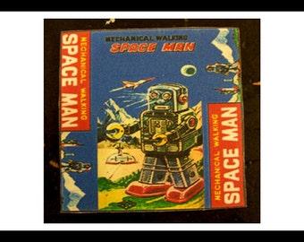 retro robot coasters 1950's tin toy robot bar decor vintage outer space kitsch