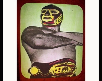 Mexican wrestler mouse pad retro lucha libre vintage mexico pop culture kitsch luchador