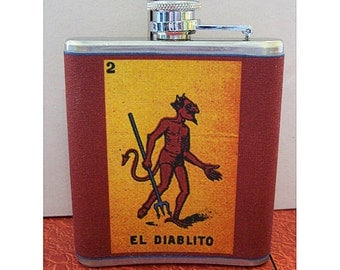 Loteria flask Spanish retro Mexico pop culture kitsch devil