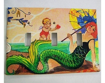 mermaid triple switch plate retro vintage 1920's pin up rockabilly light switch cover