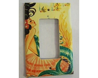 vintage mermaid rocker switch plate retro 1950's pin up dimmer switch rockabilly kitsch