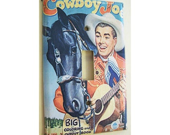 retro cowboy switch plate cover vintage 1950's western rockabilly kitsch light switch